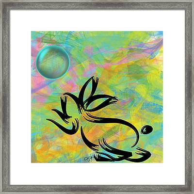Bubbly Rabbit Framed Print by Oiyee At Oystudio