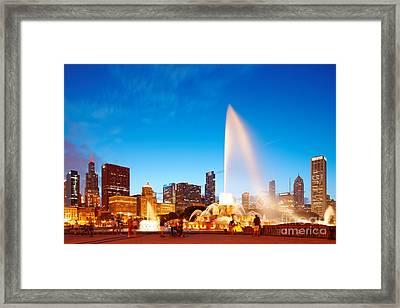 Buckingham Fountain And Downtown Chicago Skyline At Twilight - Grant Park Chicago Illinois Framed Print by Silvio Ligutti