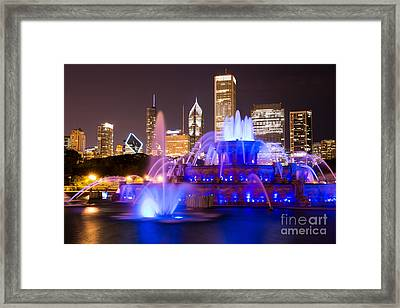 Buckingham Fountain At Night With Chicago Skyline Framed Print by Paul Velgos