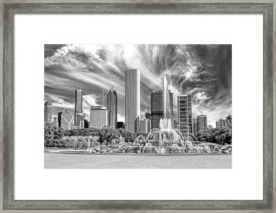 Buckingham Fountain Skyscrapers Black And White Framed Print by Christopher Arndt