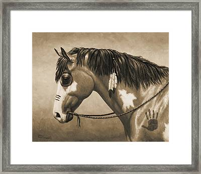 Buckskin War Horse In Sepia Framed Print by Crista Forest