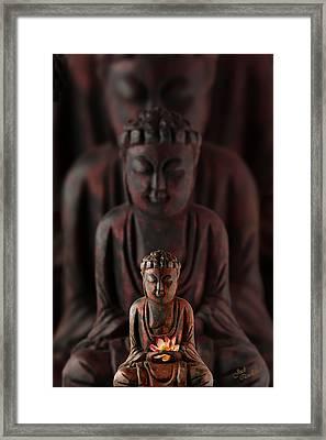 Buddah With Lotus Flower Framed Print by Judi Quelland