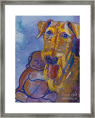 Buddha And The Divine Airedale No. 1332 Framed Print by Ilisa  Millermoon