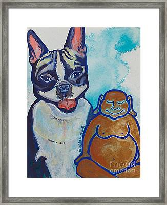 Buddha And The Divine Boston Terrier No. 1331 Framed Print by Ilisa  Millermoon
