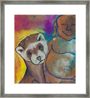 Buddha And The Divine Ferret No. 1317 Framed Print by Ilisa  Millermoon