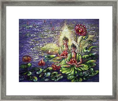 Buddha Lotus Framed Print by Harsh Malik