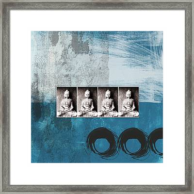Buddhas In Blue- Contemporary Art By Linda Woods. Framed Print by Linda Woods