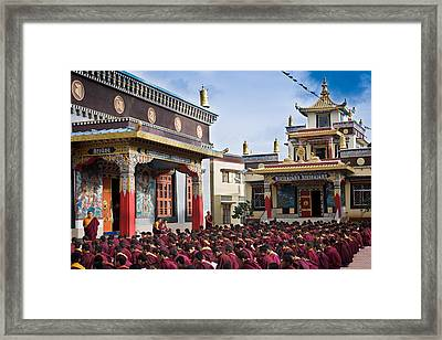 Buddhist Monastery In Full Attendance Framed Print by Nila Newsom