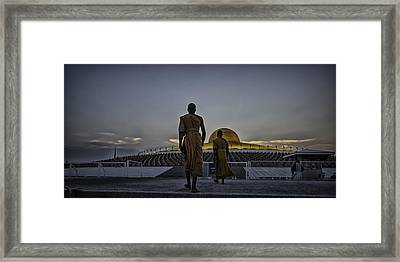 Buddhist Monks At Wat Dhamma Framed Print by David Longstreath