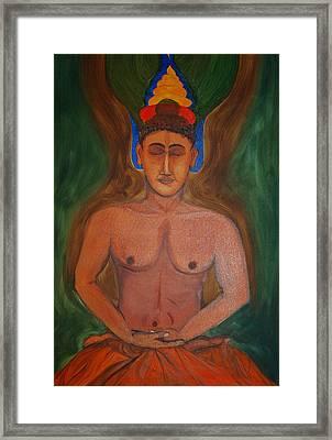 Budha In Nirvana Framed Print by Harpreet Singh