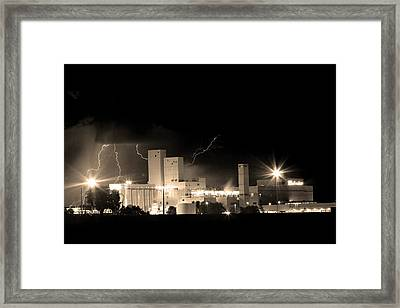 Budwesier Brewery Lightning Thunderstorm Image 3918  Bw Sepia Im Framed Print by James BO  Insogna