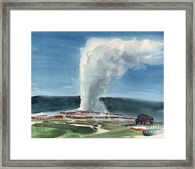 Buffalo And Geyser Framed Print by Donald Maier