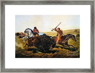 Buffalo Hunt, 1862 Framed Print by Granger
