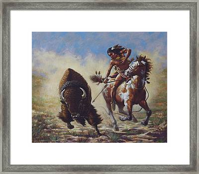Buffalo Hunter Framed Print by Harvie Brown