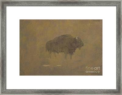 Buffalo In A Sandstorm Framed Print by Albert Bierstadt