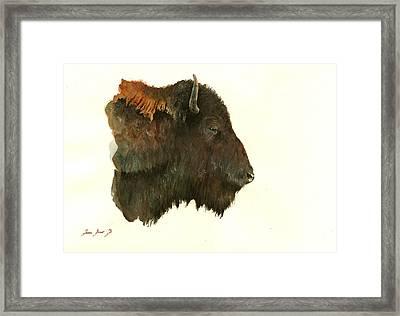 Buffalo Portrait Head Framed Print by Juan  Bosco