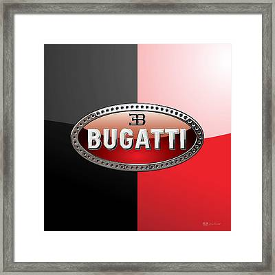 Bugatti - 3d Badge On Black And Red Framed Print by Serge Averbukh