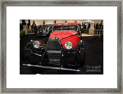 Bugatti Red . Front Angle Framed Print by Wingsdomain Art and Photography