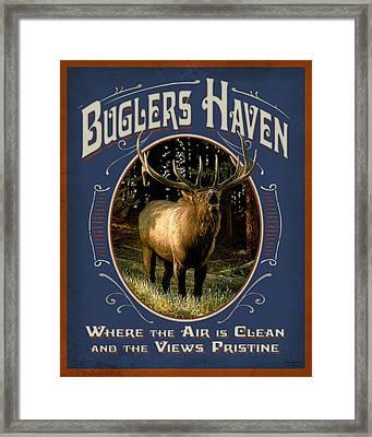 Buglers Haven Sign Framed Print by JQ Licensing