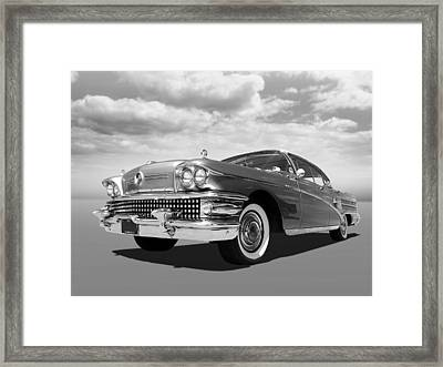 Buick Roadmaster 75 In Black And White Framed Print by Gill Billington