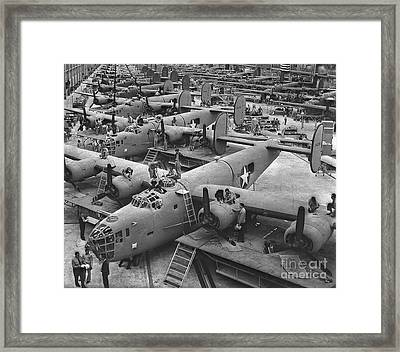 Building The B24 Fleet 1943 Bw Framed Print by Padre Art