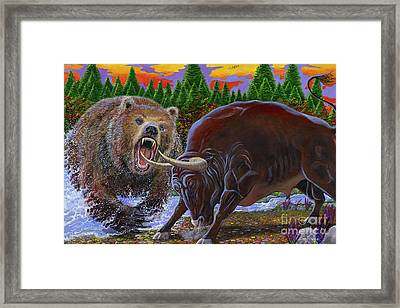 Bull And Bear Framed Print by Carey Chen