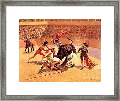 Bull Fight In Mexico Framed Print by Roberto Prusso