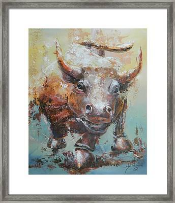 Bull Market Y Portrait Framed Print by John Henne