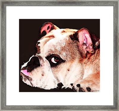Bulldog Art - Let's Play Framed Print by Sharon Cummings