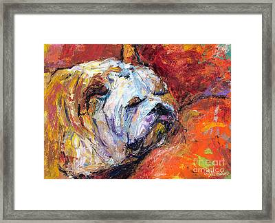 Bulldog Portrait Painting Impasto Framed Print by Svetlana Novikova