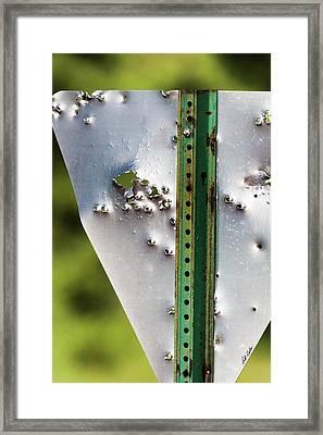 Bullet Hole Yield Framed Print by Bill Kesler