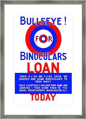 Bullseye For Binoculars Framed Print by War Is Hell Store