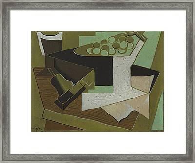 Bunch Of Grapes And Pear Framed Print by Juan Gris