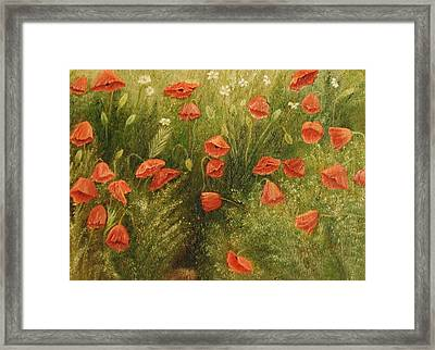 Bunch Of Poppies Framed Print by Angeles M Pomata