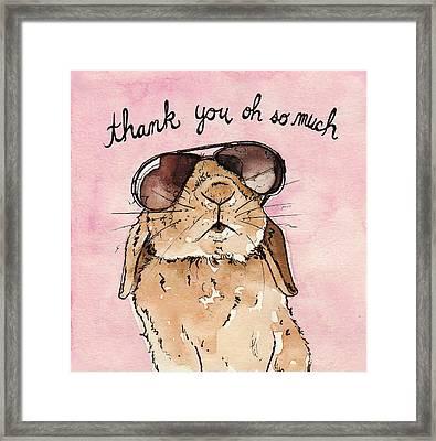 Bunny Rabbit Thank You Card Framed Print by Katrina Davis
