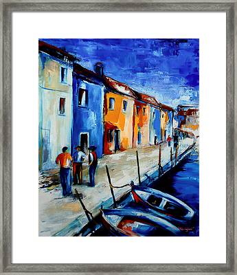 Burano Conversation Framed Print by Elise Palmigiani