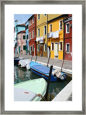 Burano Corner With Laundry Framed Print by Donna Corless