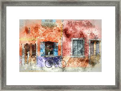 Burano Italy Digital Watercolor On Photograph Framed Print by Brandon Bourdages