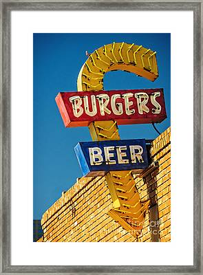 Burgers And Beer Framed Print by Charles Dobbs