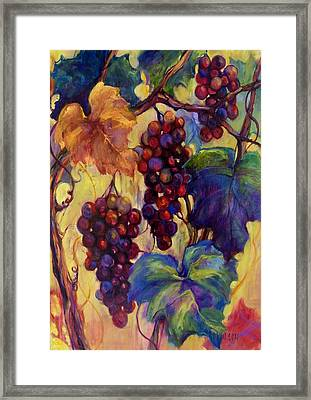 Burgundy Grapes Framed Print by Peggy Wilson