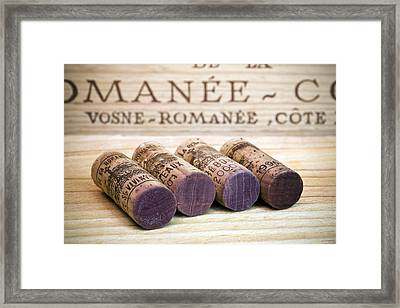 Burgundy Wine Corks Framed Print by Frank Tschakert