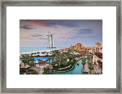 Burj Al Arab Hotel And Madinat Jumeirah Resort Framed Print by Jeremy Woodhouse
