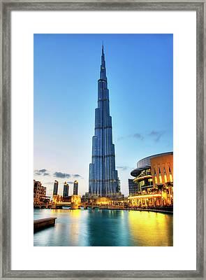 Burj Khalifa Sunset Framed Print by Shawn Everhart