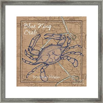 Burlap Blue Crab Framed Print by Debbie DeWitt