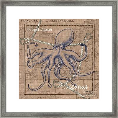 Burlap Octopus Framed Print by Debbie DeWitt