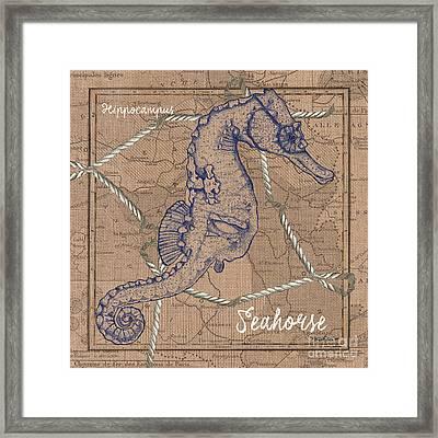 Burlap Seahorse Framed Print by Debbie DeWitt