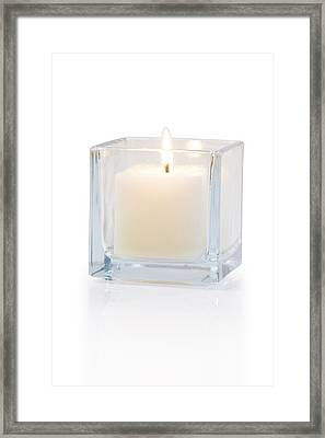 Burning Candle Side View 20 Degree Framed Print by Atiketta Sangasaeng