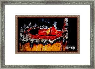 Burning Stump H A With Decorative Ornate Printed Frame. Framed Print by Gert J Rheeders
