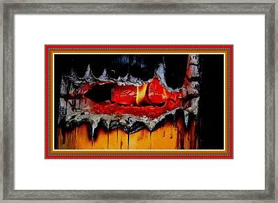Burning Stump H B With Decorative Ornate Printed Frame. Framed Print by Gert J Rheeders