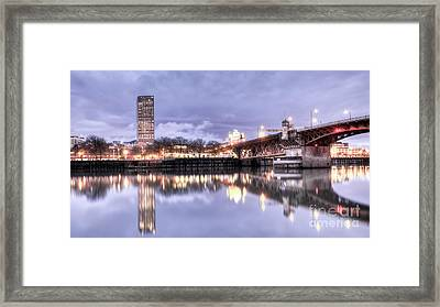 Burnside Bridge Waterfront Portland Oregon Framed Print by Dustin K Ryan